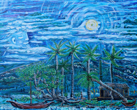 Maui Pearl Moon was created for the new Year, Lahaina Art, Lahaina Banyan Tree, Art of Maui