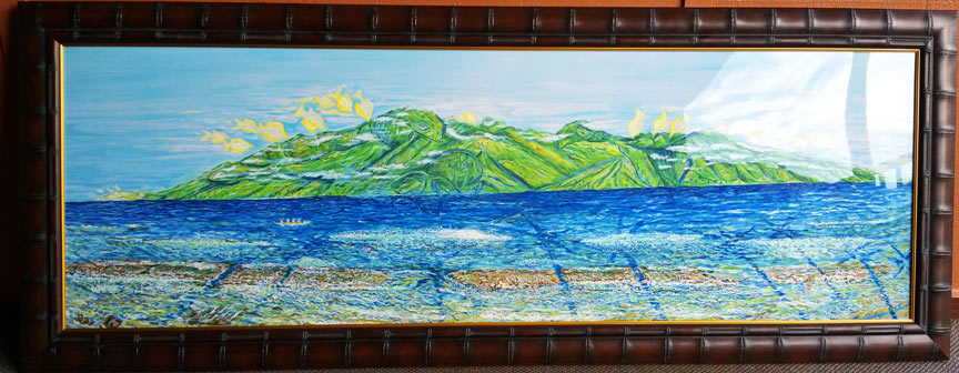 Molokai Turtles Oil Painting - Maui Artist Podge Elvenstar