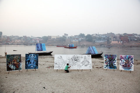 Abhishek Singh exhibit in Varanasi India on the River Ganger