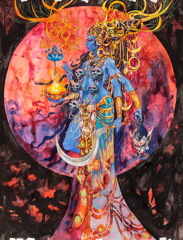 Kali and Shiva Painting by Abhishek Singh from India