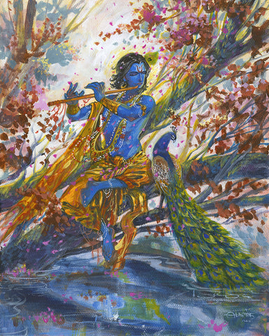 Beautiful modern depiction of Krishna by visual artist Abhishek Singh