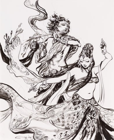 Krishna Radha dance black and white painting by Abhishek Singh