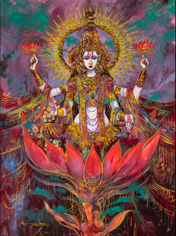 Lakshmi, Hindu Goddess of Light painting by Abhishek Singh