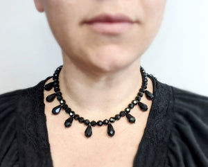 "Faceted ""Jet"" Fringe Necklace"