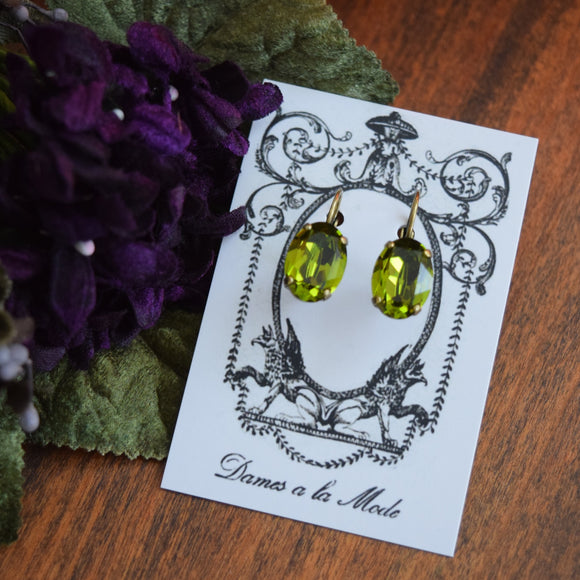Olive Green Swarovski Crystal Earrings - Medium Oval
