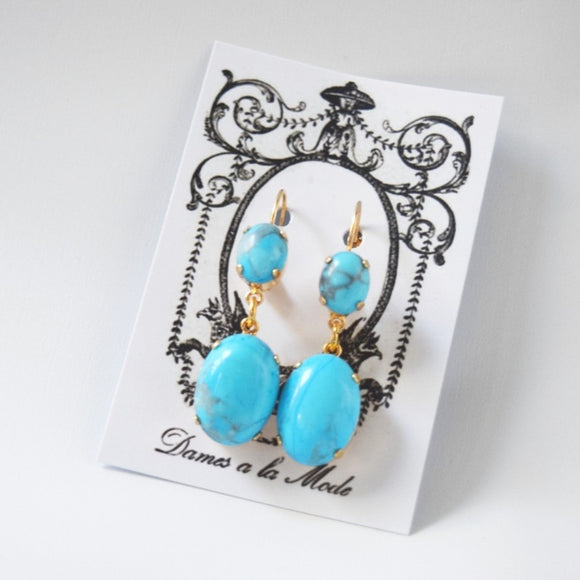 Glass Turquoise 2-stone Earrings - Small and Large Ovals