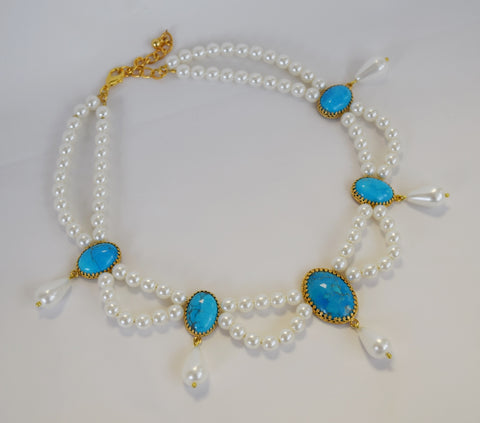 Pearl and Turquoise Festoon Necklace