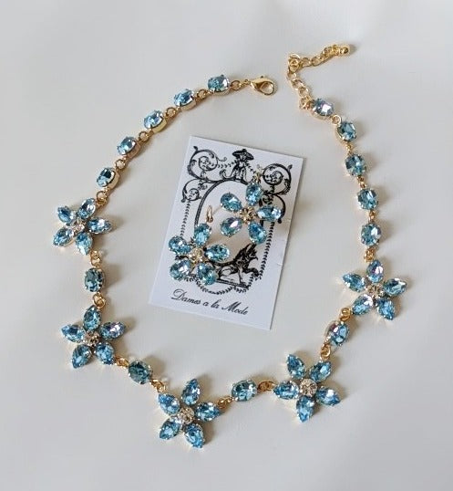 Floral Necklace - Aquamarine Swarovski Teardrops