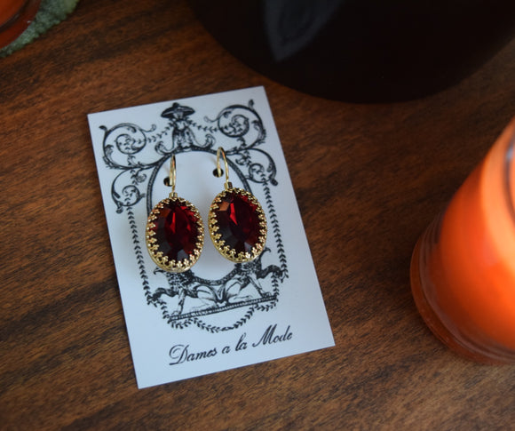 Garnet Swarovski Crown Set Crystal Earrings - Large Oval