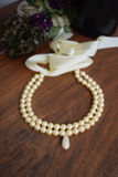 Double Strand Pearl Necklace - Medium Cream with Teardrop