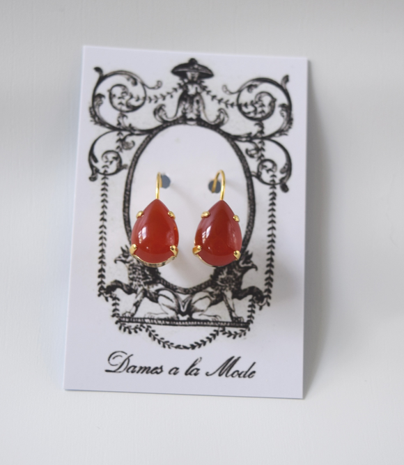 Carnelian Teardrop Earrings - Medium