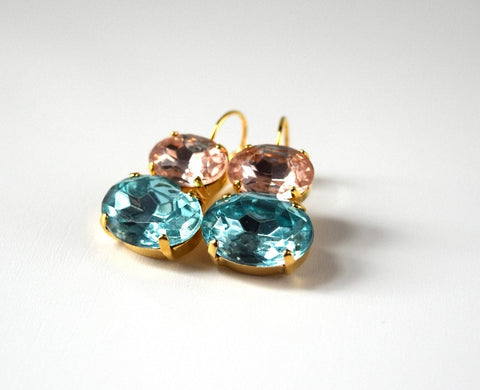 Pink and Aqua Crystal Earrings, 18th Century Style Earrings