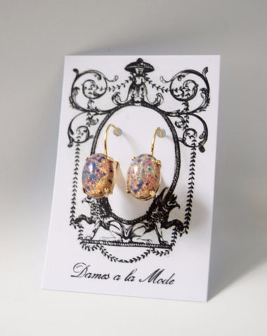 Vintage Glass Opal Earrings - Medium Oval