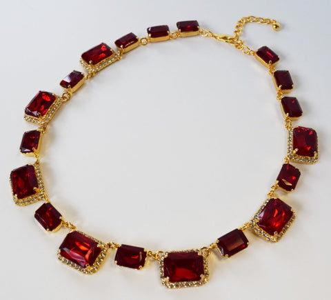Ruby Red Crystal Octagon Halo Necklace - Large Octagon