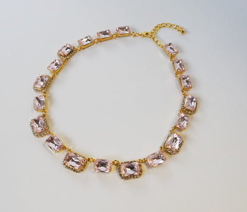 Light Pink Crystal Octagon Halo Necklace - Medium Octagon