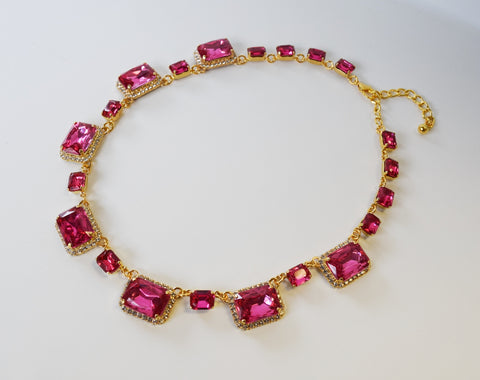 Pink Topaz Halo Necklace - Large Octagon