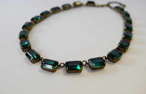 Dark Green Swarovski Collet Necklace - Medium Octagon