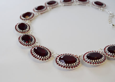 Garnet  Swarovski Crystal Halo Rivere Necklace