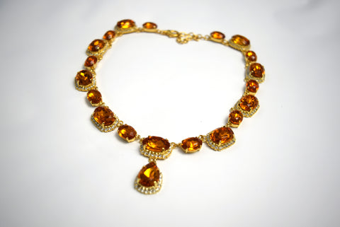 Orange Topaz Halo Riviere Necklace