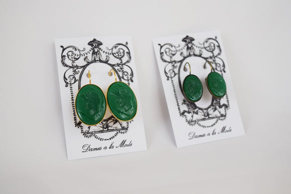 Cameo Earrings - Green Warrior Silhouette