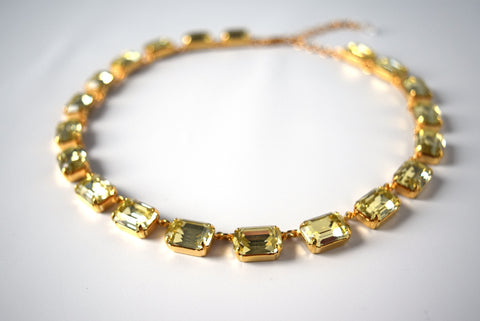 Light Yellow Swarovski Collet Necklace - Medium Octagon