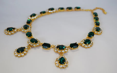 Emerald Swarovski Halo Necklace with Teardrops - Medium Oval