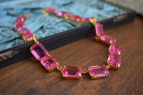 Pink Topaz Swarovski Crystal Necklace - Large Octagon