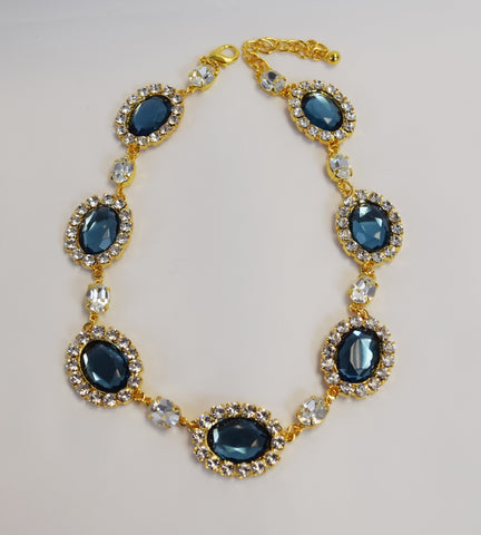 Navy Blue Halo Necklace - Large Oval