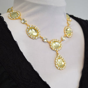 Light Yellow Citrine Halo Necklace - Large Oval with Teardrop
