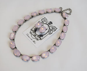 Pink Opal Crystal Collet Necklace - Large Oval