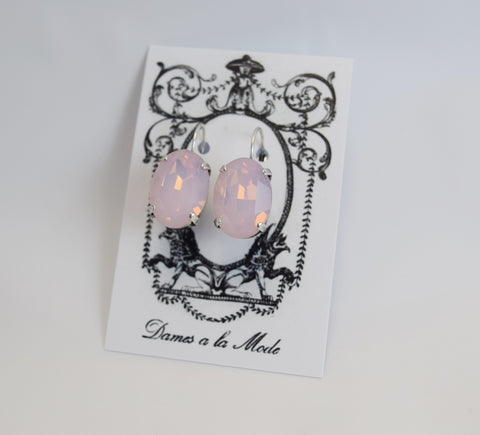 Pink Opal Crystal Earrings - Large Oval