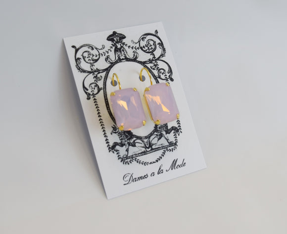 Pink Opal Crystal Earrings - Large Octagon
