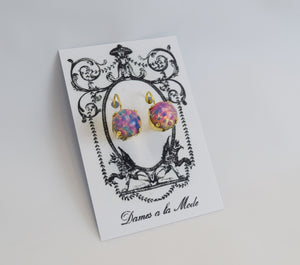 Opal Glass Earrings - Small Round