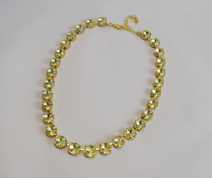 Citrine Yellow Crystal Necklace - Small Round