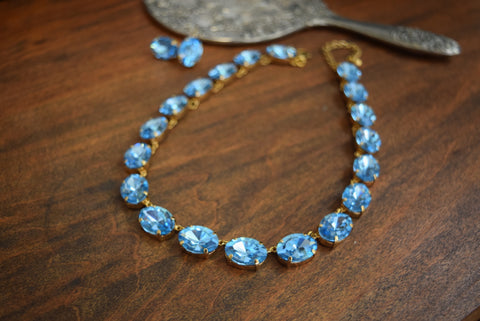 Aquamarine Blue Swarovski Crystal Collet Necklace - Large Oval