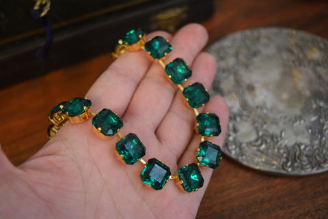 Emerald Green Collet Necklace - Medium Square