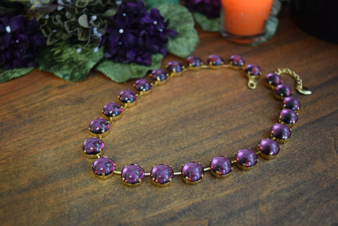 Amethyst Mirror Back Collet Necklace - Medium Round