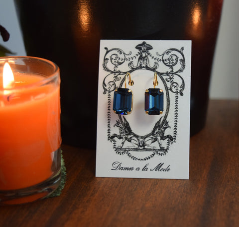 Navy Blue Swarovski Crystal Earrings - Medium Octagon