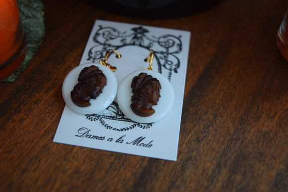 Cameo Earrings - Brown and White Glass