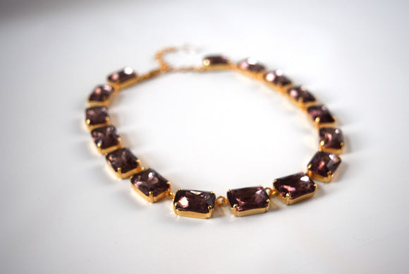 Light Amethyst Purple Collet Necklace - Large Octagon