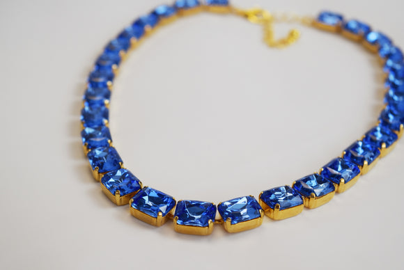 Ocean Blue Collet Necklace - Small Octagon