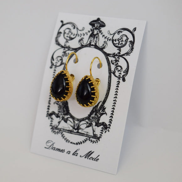 Onyx Crown Earrings - Medium Teardrop