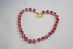 Bright Pink Crystal Collet Necklace - Small Round