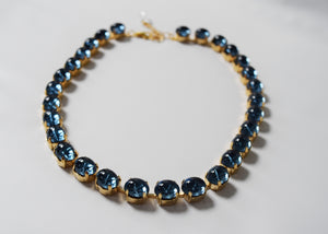 Navy Swarovski Crystal Mirror Back Rivere - Small Necklace