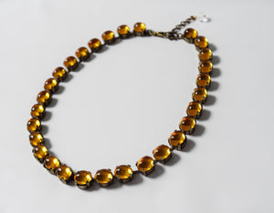 Orange Topaz Swarovski Crystal Mirror Back Rivere - Small Oval