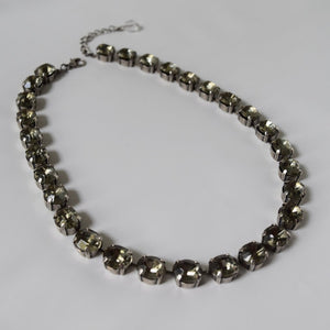 Grey Crystal Collet Necklace - Small oval