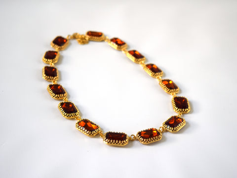 Large Octagon Madeira Topaz Riviere Necklace, Crown Setting