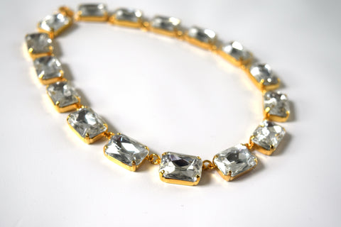 Clear Crystal Collet Necklace | Large Octagon Riviere