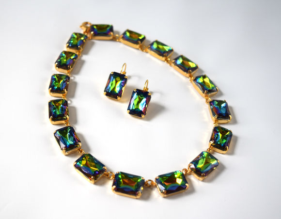Rainbow Crystal Collet Necklace | Large Octagon Riviere
