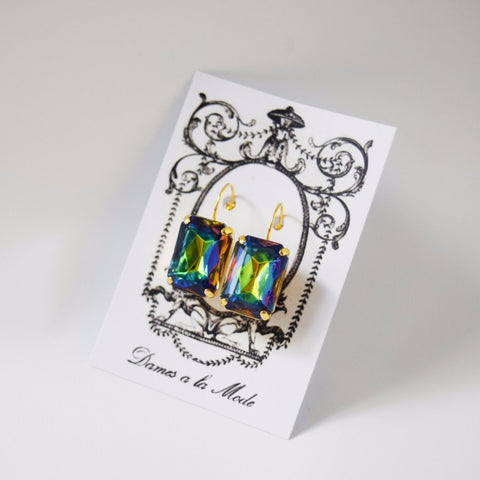 Large Peacock Blue Crystal Octagon Earrings